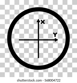 Coordinate Axis rounded icon. Vector illustration style is flat iconic symbol inside a circle, black color, transparent background. Designed for web and software interfaces.