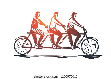 Coordinate, cooperation, teamwork, bike, tandem concept. Hand drawn three persons on one bike concept sketch. Isolated vector illustration.
