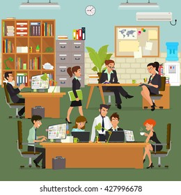 coordinated work in friendly team in the office. modern office. vector illustration.