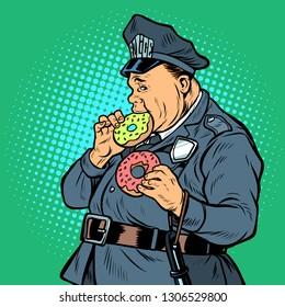 cop eats donut. Pop art retro vector illustration kitsch vintage