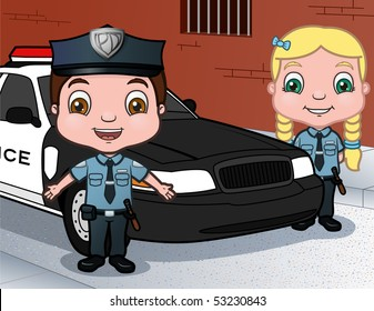 Cop Kids - vector illustration