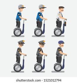 cop on electric wheel, segway transport icon set flat design