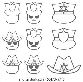 Cop police cartoon vector icons