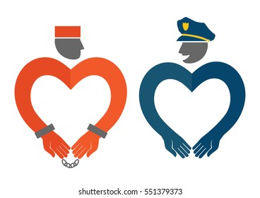 COP and prisoner icons in the form of hearts humorous vector illustration