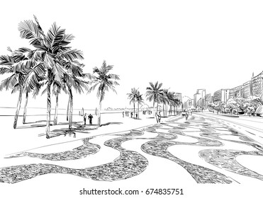 Copacabana beach. Rio de janeiro. Brazil. Hand drawn city sketch. Vector illustration.