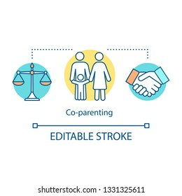 Co-parenting concept icon. Separation agreement idea thin line illustration. Child custody, support, adoption. Coparents. Shared, joint parenthood. Vector isolated outline drawing. Editable stroke