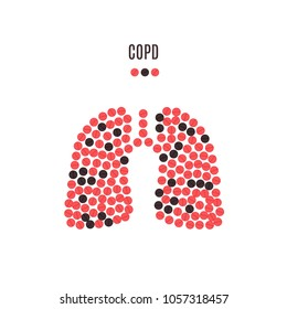COPD awareness poster with lungs made of pills on white background. Chronic obstructive pulmonary disease symbol. Medical solidarity concept. Human body organ anatomy icon. Vector illustration.