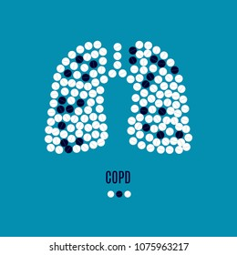 COPD awareness vector poster with lungs made of pills on blue background. Chronic obstructive pulmonary disease symbol. Medical solidarity concept for clinics. Human body organ anatomy icon.