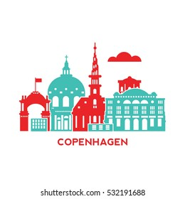 Copenhagen city architecture retro vector illustration, skyline city silhouette, skyscraper, flat design
