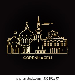 Copenhagen city golden architecture vector illustration, skyline city silhouette, skyscraper