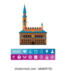 Copenhagen City Hall vector icon