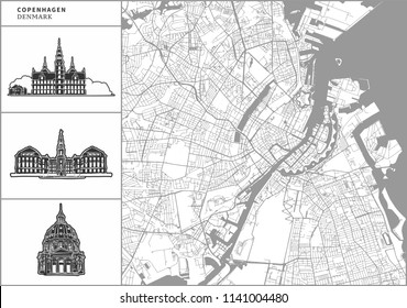 Copenhagen city map with hand-drawn architecture icons. All drawigns, map and background separated for easy color change. Easy repositioning in vector version.