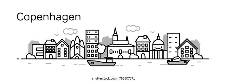 Copenhagen city. Modern flat line style. Vector illustration
