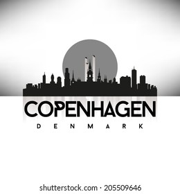 Copenhagen Denmark Black Skyline Silhouette vector illustration, Typographic design.