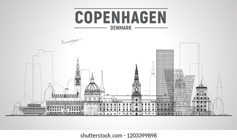 Copenhagen (Denmark) line skyline with panorama on white background. Vector Illustration. Business travel and tourism concept with modern buildings. Image for presentation, banner, web site.