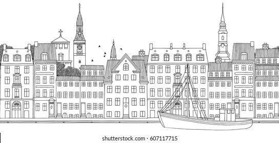Copenhagen, Denmark - Seamless banner of the city's skyline, hand drawn black and white illustration