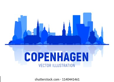 Copenhagen (Denmark) skyline with panorama on white background. Vector Illustration. Business travel and tourism concept with modern buildings. Image for presentation, banner, web site.