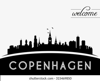 Copenhagen Denmark skyline silhouette, black and white design, vector illustration