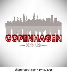 Copenhagen Denmark skyline silhouette design, vector illustration.