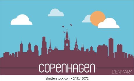 Copenhagen Denmark skyline silhouette flat design vector illustration.