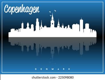 Copenhagen, Denmark, skyline silhouette vector design on parliament blue and black background.