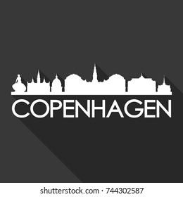 Copenhagen Flat Icon Skyline Silhouette Design City Vector Art Famous Buildings