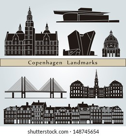 Copenhagen landmarks and monuments isolated on blue background in editable vector file