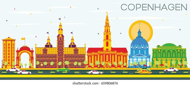 Copenhagen Skyline with Color Landmarks and Blue Sky. Vector Illustration. Business Travel and Tourism Concept with Historic Buildings. Image for Presentation Banner Placard and Web Site.