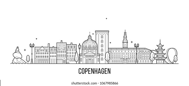 Copenhagen skyline, Denmark. This illustration represents the city with its most notable buildings. Vector is fully editable, every object is holistic and movable