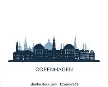 Copenhagen skyline, monochrome silhouette. Vector illustration.