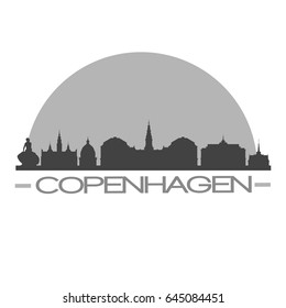 Copenhagen Skyline Silhouette Skyline Stamp Vector City Design