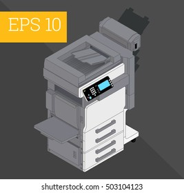 Copier printer eps10 vector illustration. realistic printer and scanner