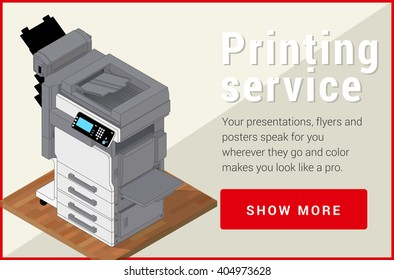 Copier printer isometric flat vector 3d illustration. Vector illustration realistic printer and scanner. Printer flat icon.