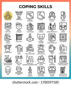 Coping skills concept line icons set in modern style for ui, ux, web, app, brochure, flyer and presentation design, etc.