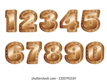 copper colored numbers isolated on white background
