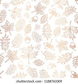 Copper foil autumn leaves seamless vector background. Rose golden abstract fall leaf shapes on white background. Elegant, luxurious pattern for scrap booking, banner, packaging, wedding, party, invite