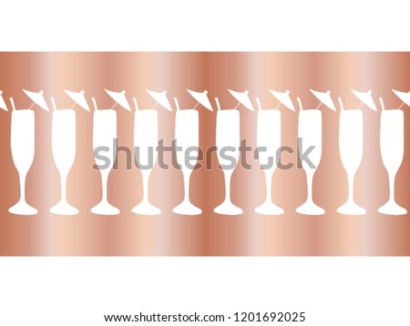 copper foil champagne flutes seamless vector pattern border cocktail glasses on rose gold background