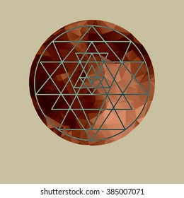 Copper Moon. Sri Yantra - symbol of Hindu tantra formed by nine interlocking triangles that radiate out from the central point. Sacred geometry. Abstract vector illustration.