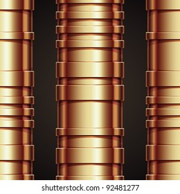 Copper pipeline seamless pattern, vector background.