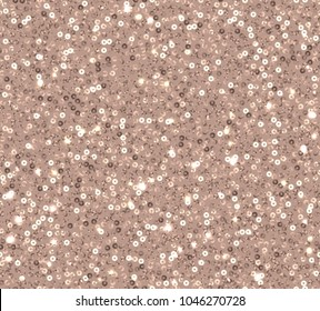 Copper sequins seamless pattern on beige background with sparkle.