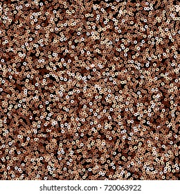 Copper sequins seamless pattern on black background.
