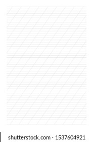 Copperplate blank grid 55 degrees angle. Calligraphy cope book.