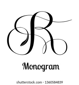 Copperplate calligraphy letter R design for product and service branding