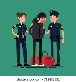 Cops holding arrested criminal. Cool flat vector character design on policemen holding a caught suspect with evidence. Cuffed burglar with stolen bag being seized