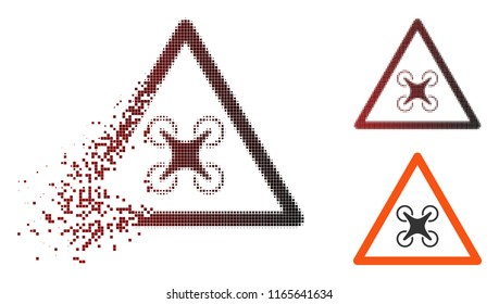 Copter danger icon in sparkle, dotted halftone and undamaged entire versions. Points are arranged into vector sparkle copter danger icon.
