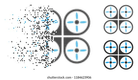 Copter icon in fractured, pixelated halftone and entire variants. Elements are arranged into vector disappearing copter shape. Disappearing effect uses rectangular scintillas.