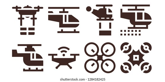 copter icon set. 8 filled copter icons. Simple modern icons about  - Helicopter, Drone