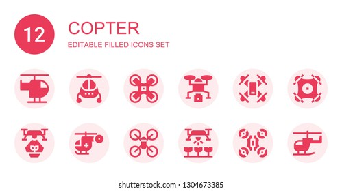 copter icon set. Collection of 12 filled copter icons included Helicopter, Drone