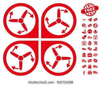 Copter Screws Rotation icon with free bonus design elements. Vector illustration style is flat iconic symbols, red color, white background.