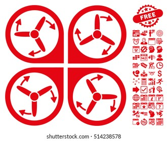 Copter Screws Rotation pictograph with bonus calendar and time management images. Vector illustration style is flat iconic symbols, red color, white background.